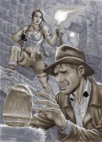 Indiana Jones meets Lara Croft by mrno74
