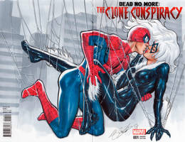 Blank cover Spider-man  Black cat first kiss by mrno74