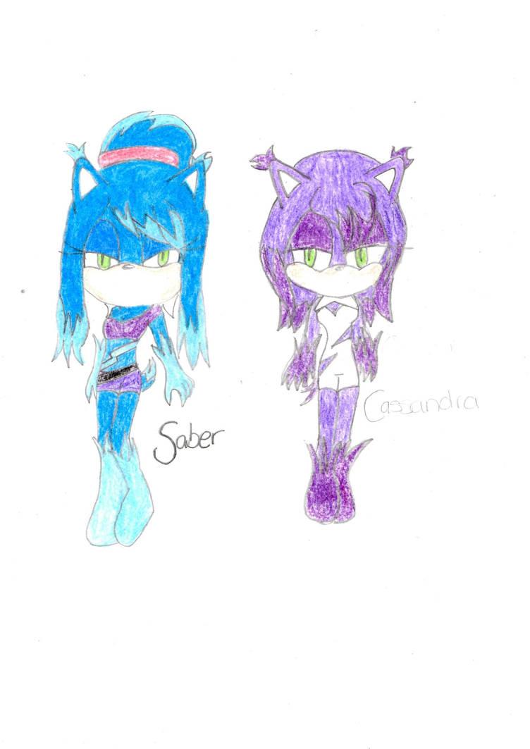 Saber and Cassandra the crystal-hogs by KeyaraHedgehog09