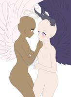 Angel and Demon girls base by Ramen11111