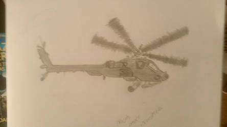 My first attempt at drawing an Apache helicopter. by Damsellover50