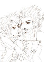 Cloud and Zack Outlines by CoffeeCat-J