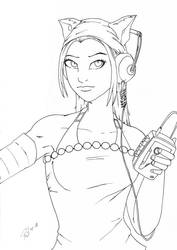 Dell with Walkman by PMDallasArt