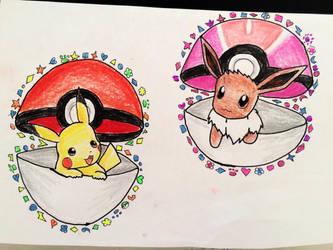 eevee and pikachu by juliapokelipytlowska