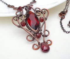 Dark red gothic necklace wire wrapped copper by CreativityJewellery