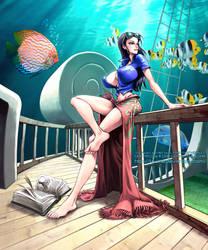 Undersea Sunbath: Nico Robin by kiwine