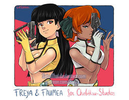 Portrait - Freya and Faumea - Dirty Pair by SatraThai