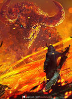 Demonic Hunter Vs. Dragon by Aeflus