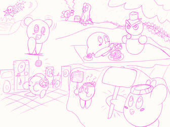 Smooth sketches of Kirby by RainbowzBoom