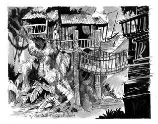 Inktober 3 - Treehouse by willterrell