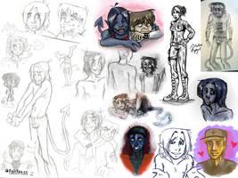 X-Men -mostly Kurt- Sketchdump by kchuu