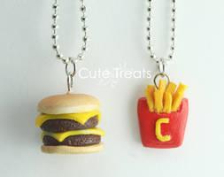 Double cheese burger and cute fries by Cutetreatsbyjany