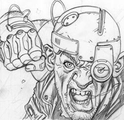 Cyborg dude, pencils by DylanTeague