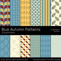 Blue Autumn Patterns by MysticEmma