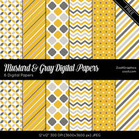 Mustard And Gray Digital Papers by MysticEmma