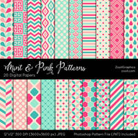Mint And Pink Patterns by MysticEmma
