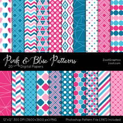 Pink And Blue Patterns by MysticEmma