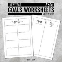 New Year Goals Worksheets by MysticEmma