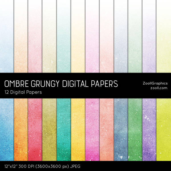 Ombre Grungy Digital Papers by MysticEmma