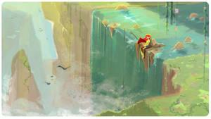 Waterfall Fishing by Chiara-Maria