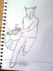 random fox with a shotgun by irfan9835