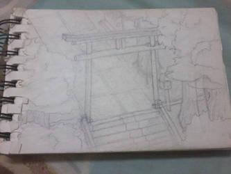 [Sketch] Shinto Shrine's gate by irfan9835