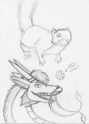 Sketches: Squirrel and Dimi Dragon by risha