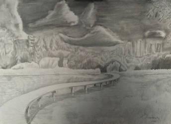 Landscape with a footbridge by Ciryu