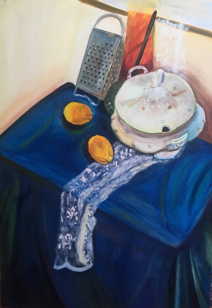 Still Life  with Tureen and Courtain by Ciryu