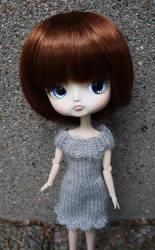 Grey knit dress for Yanagi by Minnake