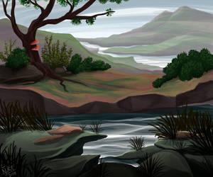 Silvery shore by Nothofagus-obliqua