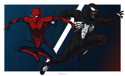 Spider-Man and Venom by Mekrani