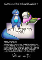 We'll miss you Tyna! by ArkhamTheMudkip