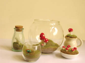 Needle felted terrariums by restlesswillow