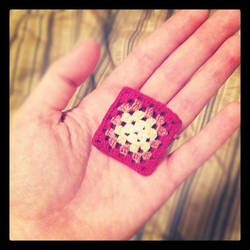 Tiny itty bitty mini granny square brooch by restlesswillow