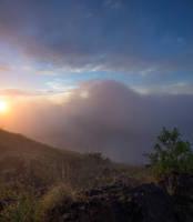 Mountainside Sunrise Premade BG by little-spacey