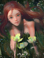 Redhead And Flowers by cursedapple