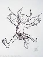 Inktober 2018 - 2: Happy little devil by StevenDrawsThings