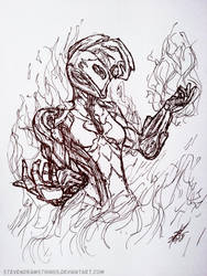 Inktober 2018 - 19: Scorched by StevenDrawsThings