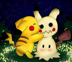Pikachu Loves Mimikyu by DarkrexS