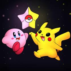 Kirby And Pikachu by DarkrexS