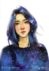 Girl in the starry night by Fernweh-illustration