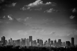 Jakarta in greyscale by Sinaga