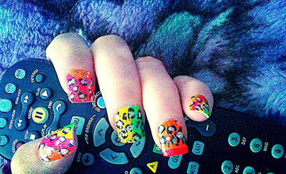 Neon Leopard Nails with Bling by Silver-Willow04