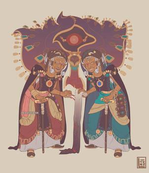 Gerudo elders - Zelda AU by Lineith