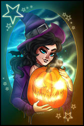 YCH A Sinister Witch and Pumpkin  by TheCoconutChild1