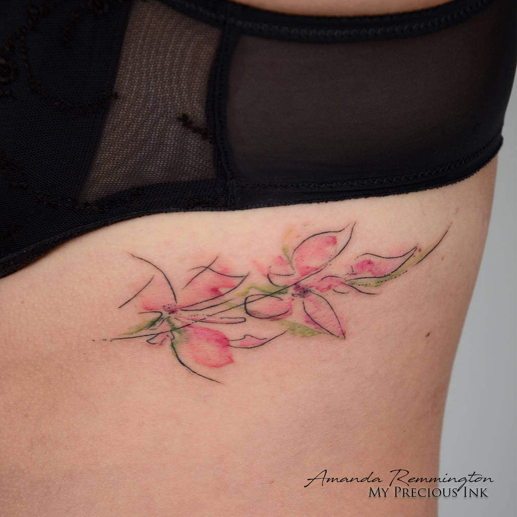 Freehand Abstract Watercolor Cherry Blossom Tattoo By Mentjuh On