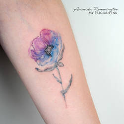 Freehand colour full watercolor wild poppy by Mentjuh