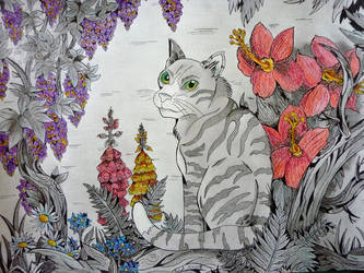 Chat et fantaisie florale by NightDragon07