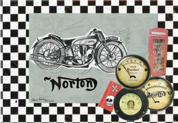 norton motorbike 1930 collage by Klairemartin
